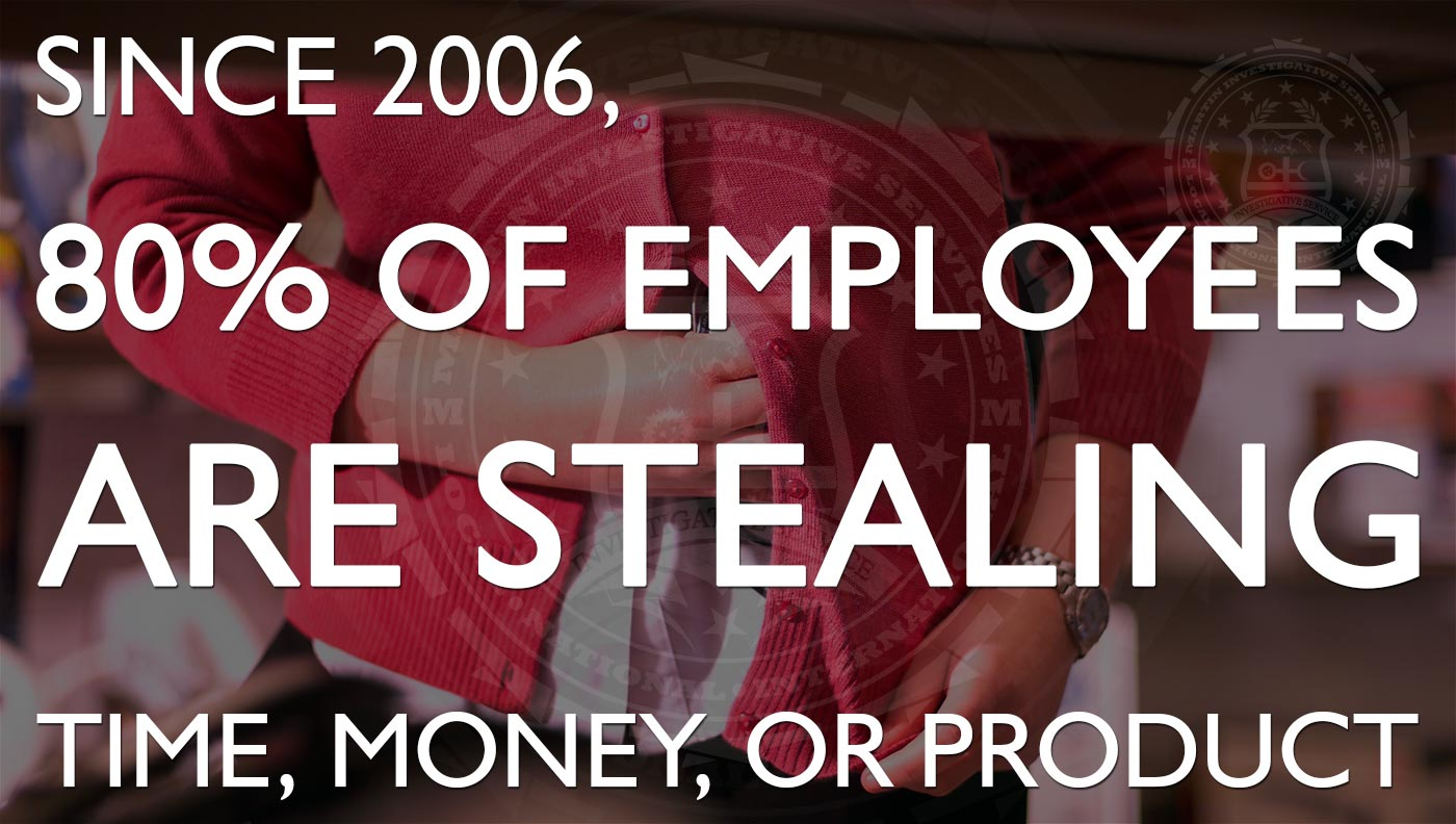 Since 2006, 80% of employees are stealing time, money or product. Martin Investigative Services. (800) 577-1080