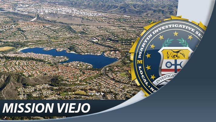 Private investigation from Martin Investigative Services, Mission Viejo office. 25909 Pala, Suite 300, Mission Viejo, CA 92691. By appointment only. (800) 577-1080. Image contains elements from 'Mission Viejo California photo D Ramey Logan.jpg' by author D Ramey Logan from Wikimedia Commons, and is licensed under the Creative Commons Attribution-Share Alike 3.0 license.