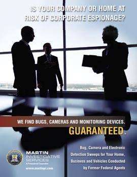 Martin Investigative Services Bug Sweep Services Flyer. Martin Investigative Services. (800) 577-1080.